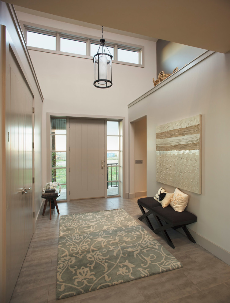 Mid-sized trendy single front door photo in Calgary with white walls and a white front door
