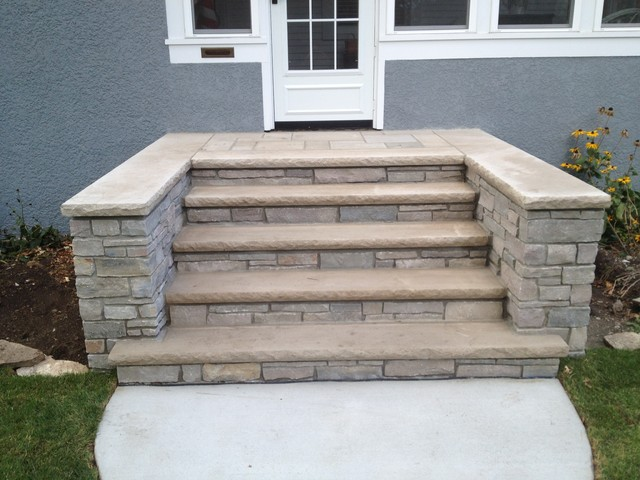 Front concrete and stone steps in minneapolis for Exterior stone stairs design