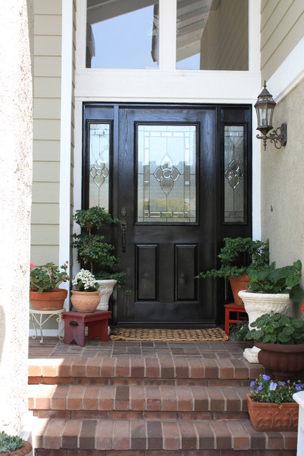 black front door with sidelightsFront Door  Eclectic  Entry  Los Angeles