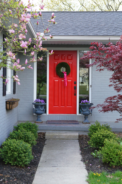 Red Door Grey House front and center color: when to paint your door bright red