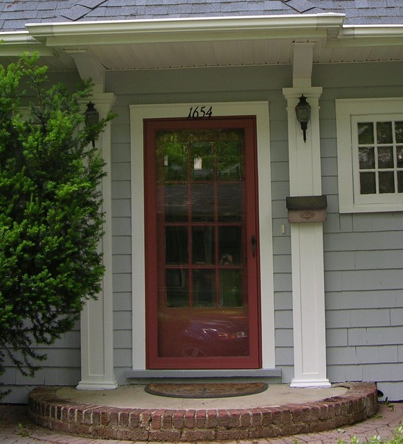 Front Door With Coordinated Storm Door Traditional