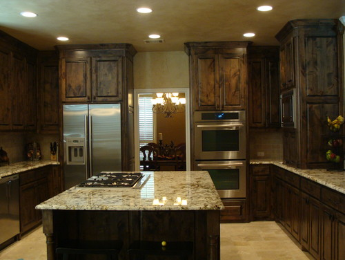 I love the contrast of the dark cabinets and light granite. Does anyone  know what - Dark Cabinets With Light Granite Countertops Cymun Designs