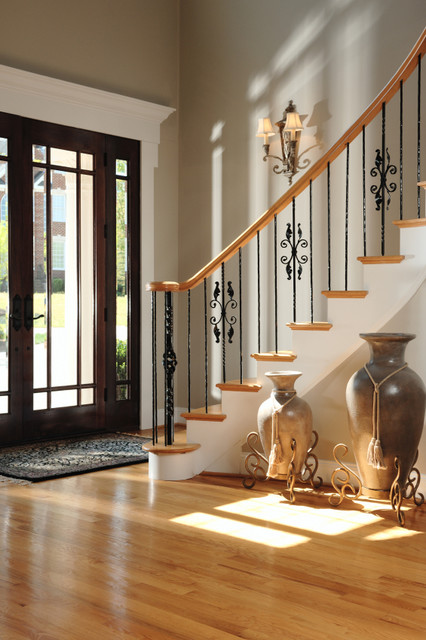 Pictures Of Traditional Foyers : Front entry foyer showing staircase with iron railings
