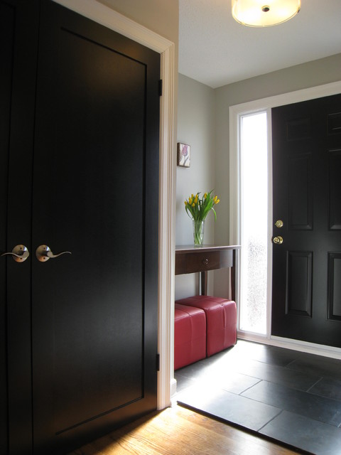 Front entry with black doors traditional entry for Painted interior door designs