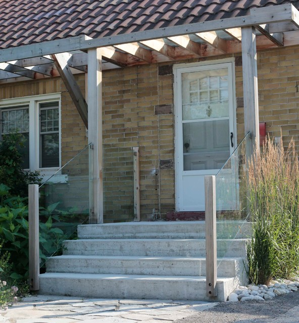 Front entry with pergola and glass railing contemporary entry toronto by heritage - Glas pergola ...