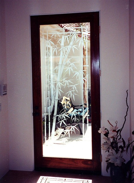 Glass Doors - Frosted Glass Front Entry Doors - BAMBOO SHOOTS 2D asian-entry