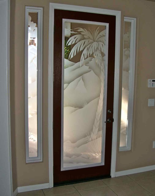 Glass doors frosted glass front entry doors palms 2d for Exterior kitchen doors with glass
