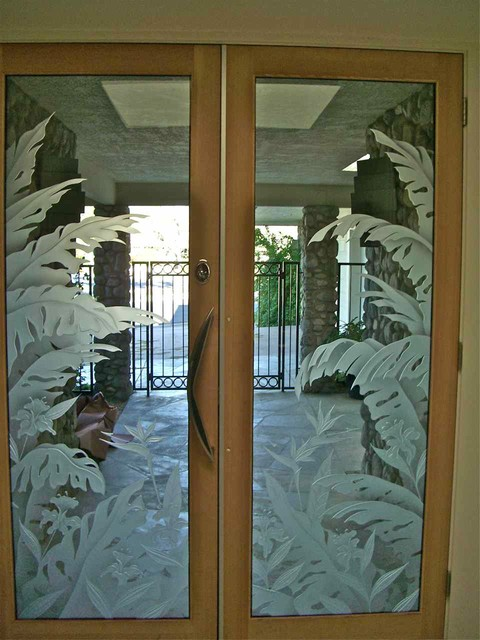Glass Doors - Frosted Glass Front Entry Doors - TROPICAL PARADISE - Eclectic - Entry - other ...