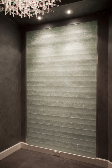 glass entry feature wall in escala penthouse - contemporary - entry - seattle