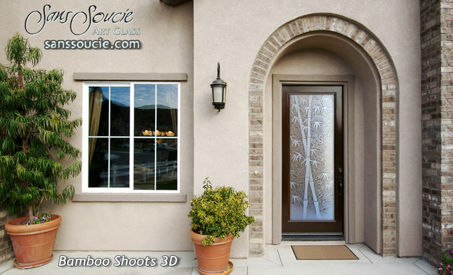 Great Glass Front Doors   Exterior Glass Doors   Glass Entry Doors Bamboo Shoots  3D Asian  Amazing Pictures
