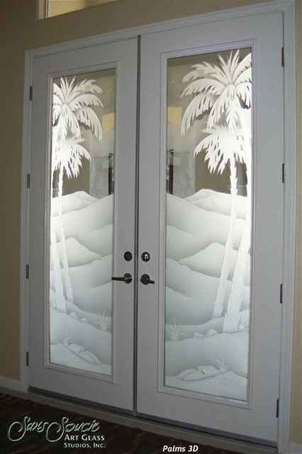 Glass Front Doors Glass Entry Doors Sandblast Frosted Palms 3d I
