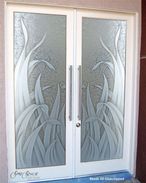 Glass Front Doors Glass Entry Doors Sandblast Frosted Reeds 3d