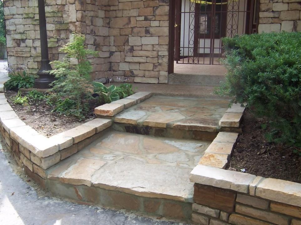 Glendale, Missouri stone masonry walkway, steps, walls