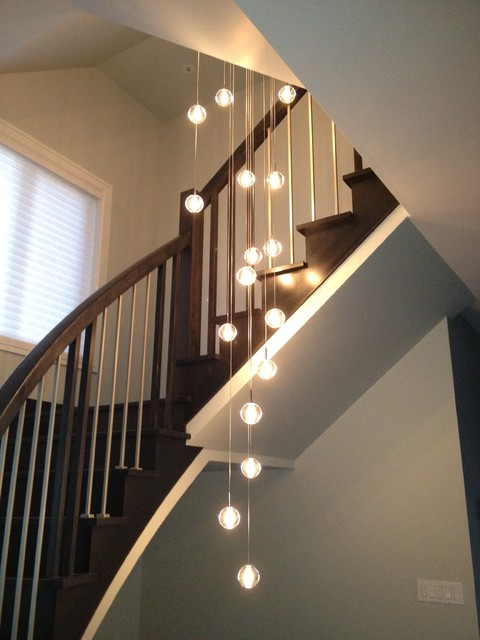 Lighting Basement Washroom Stairs: Globe Suspension Lighting Alternative To Bocci