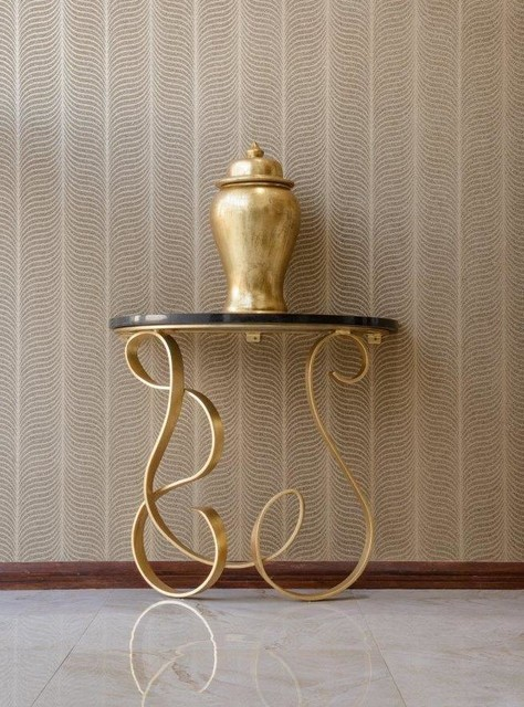 Gold leaf entrance hall tableblack granite topcrystal gold wallpaper contemporary entrance