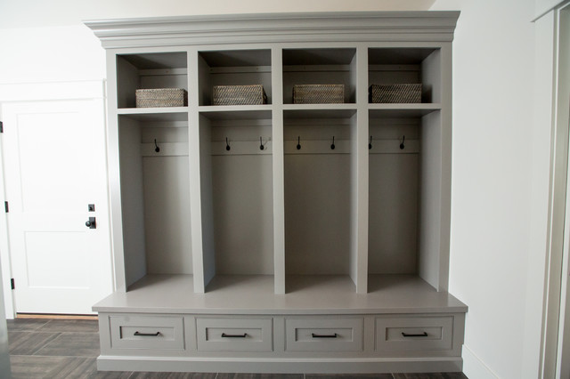 Mudroom - large transitional porcelain floor and gray floor mudroom idea in Other with white walls