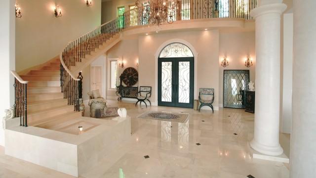 Travertine Foyer Design : Gorgeous travertine entryway traditional entry