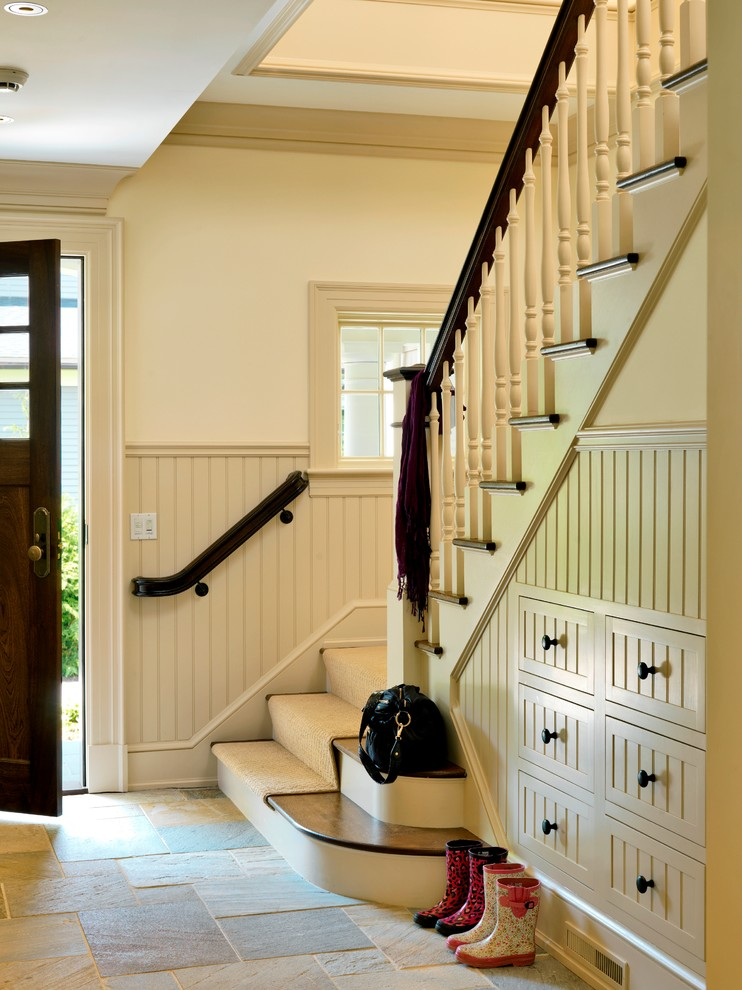 Mid-sized elegant entryway photo in Boston with white walls and a dark wood front door