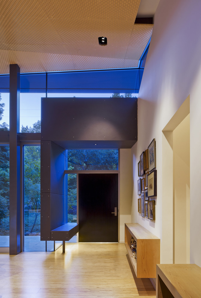Inspiration for a small modern light wood floor foyer remodel in San Francisco with white walls and a dark wood front door