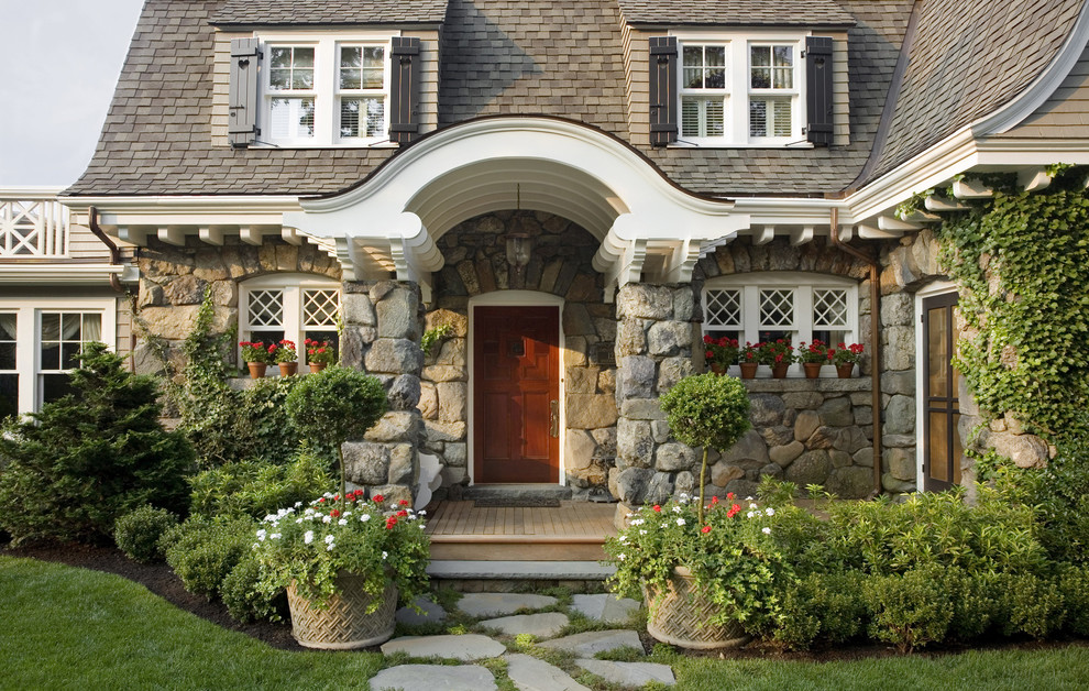 Example of a huge classic entryway design in Boston