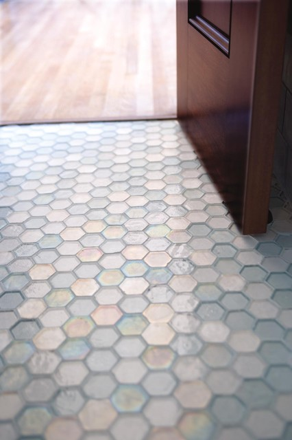 Hexagon Glass on the Floor  Awesome! traditional-entry