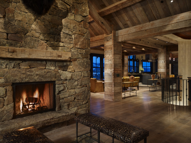 Yellowstone Residence Entry Fireplace rustic-entry