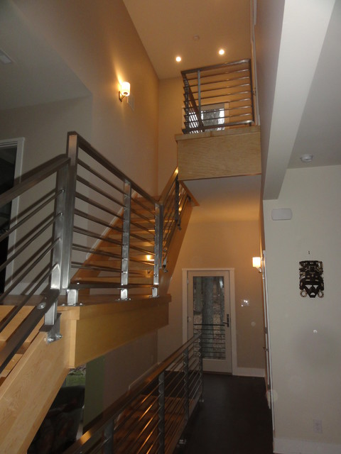 Horizontal stainless steel railings contemporary-entry