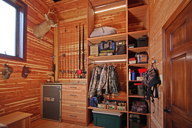 Hunting Closet in Garage Addition - Rustic - Entry - st ...