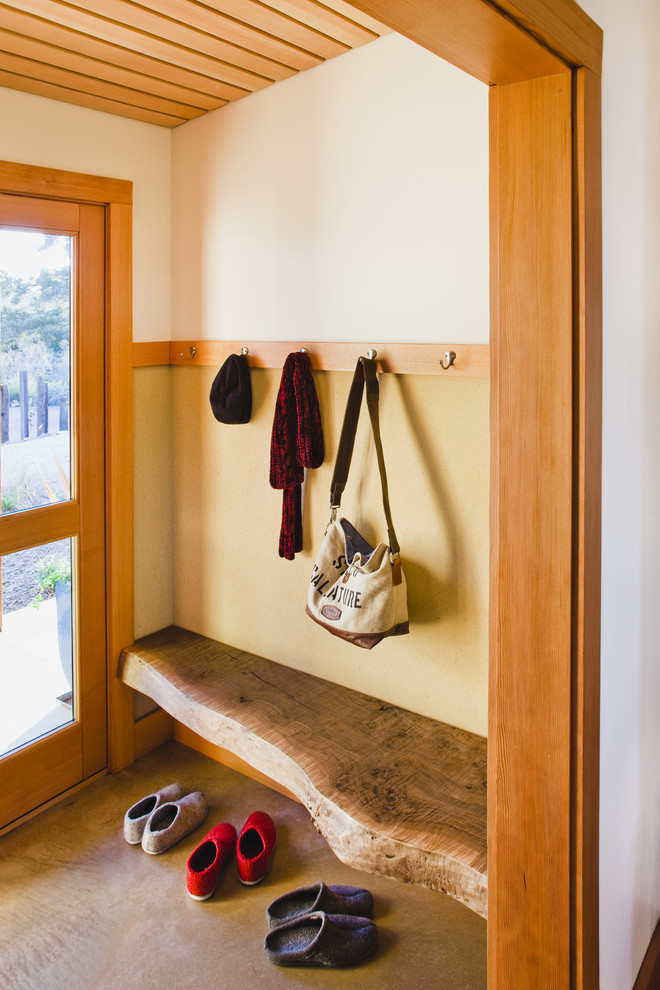 Inspiration for a cottage entryway remodel in San Francisco with beige walls and a glass front door