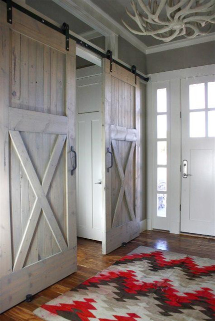 Industrial Barn Door Hardware And Barn Doors Traditional Entry