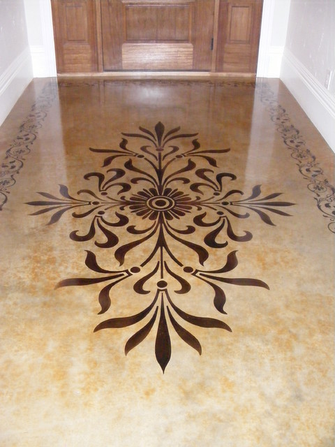 Interior Concrete Floor Ideas Traditional Entry
