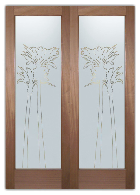 Interior Glass Doors - Obscure Frosted Glass PALMS GLEAMING PS PAIR eclectic-entry