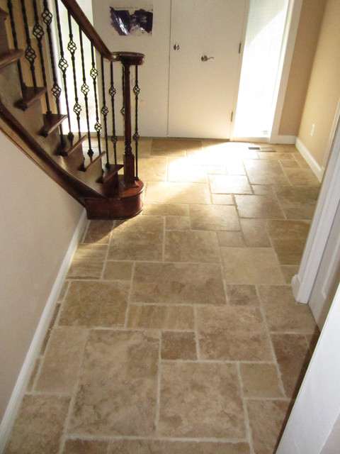 Foyer Tile Floor : Interlocking travertine entry traditional