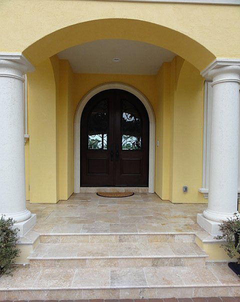 Ivory Swirl Travertine Pavers Tropical Entry Other