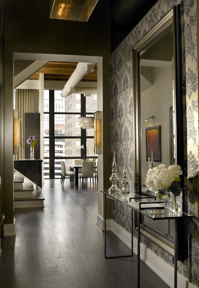 Urban entry hall photo in Chicago with black walls