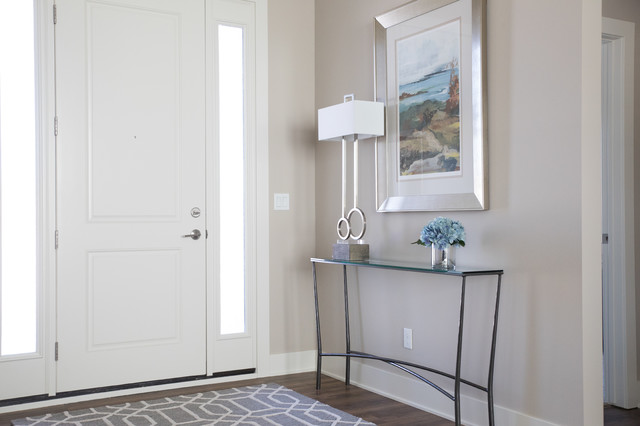 Mid-sized transitional vinyl floor and brown floor entryway photo in Other with beige walls and a white front door