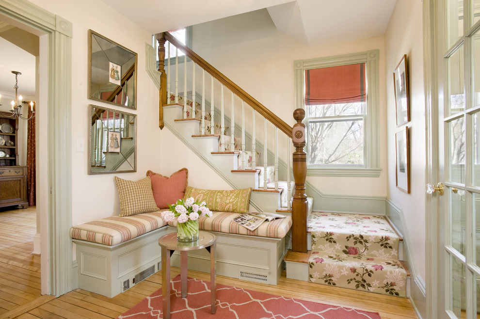 Cottage chic light wood floor foyer photo in Boston