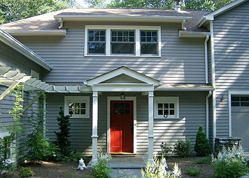 Red Door Grey House front door home improvement ideas
