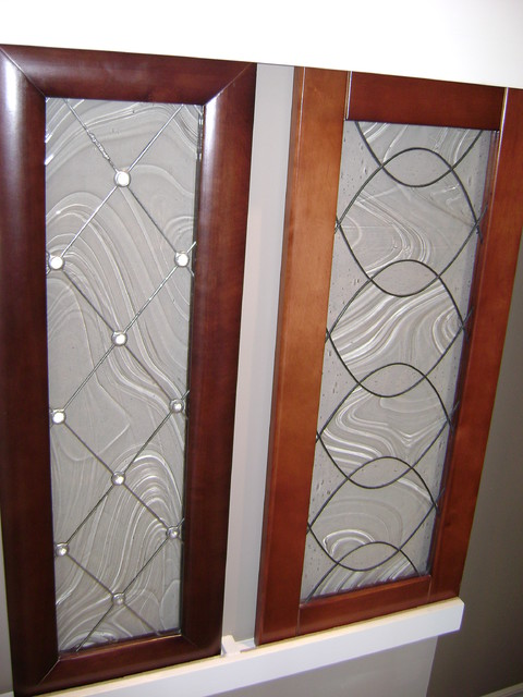 Kitchen cabinet stained glass applications eclectic for Exterior kitchen doors with glass