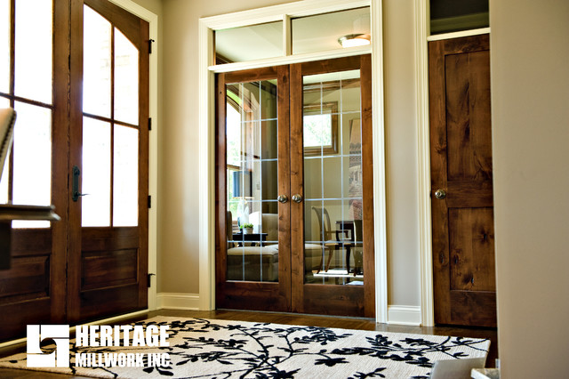 Preferred Knotty Alder Stained Dark with White Trim - Traditional - Entry  UE93