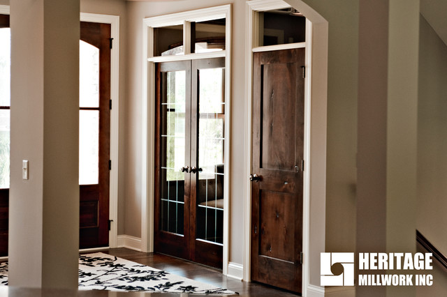 Knotty Alder Stained Dark With White Trim Traditional