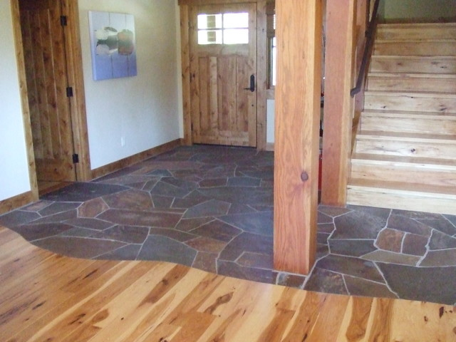 Front Foyer Tile Ideas : Lahontan l foyer two flooring materials stone wood