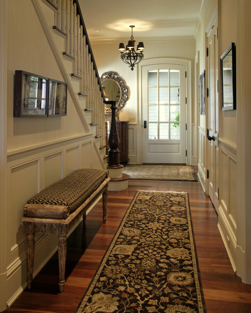 Help foyer rug and runner mix and match for Foyer traditional decorating ideas