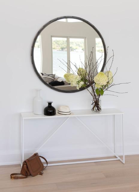 stor rund spegel hall