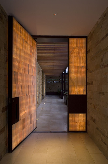 glowing onyx and steel entry door contemporary-entry