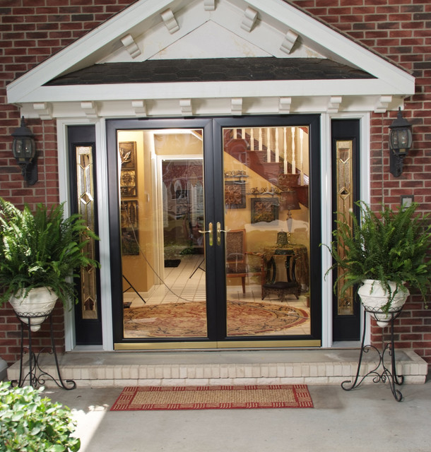 Larson fullview storm door entry traditional entry for Double storm doors for french doors