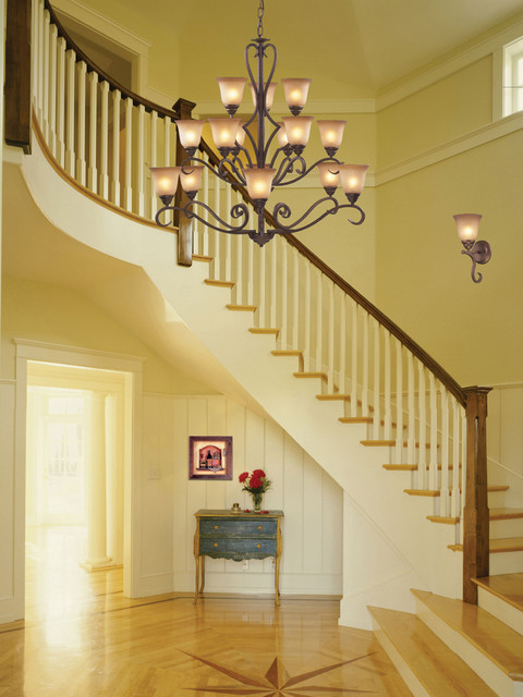 Lawrenceville collection 1 light 13 mocha wall sconce for 2 story foyer chandelier