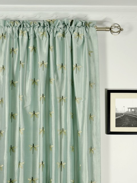 Green Curtains blue and green curtains : Light Blue Embroidered Animal Rod Pocket Dupioni Silk Curtains ...