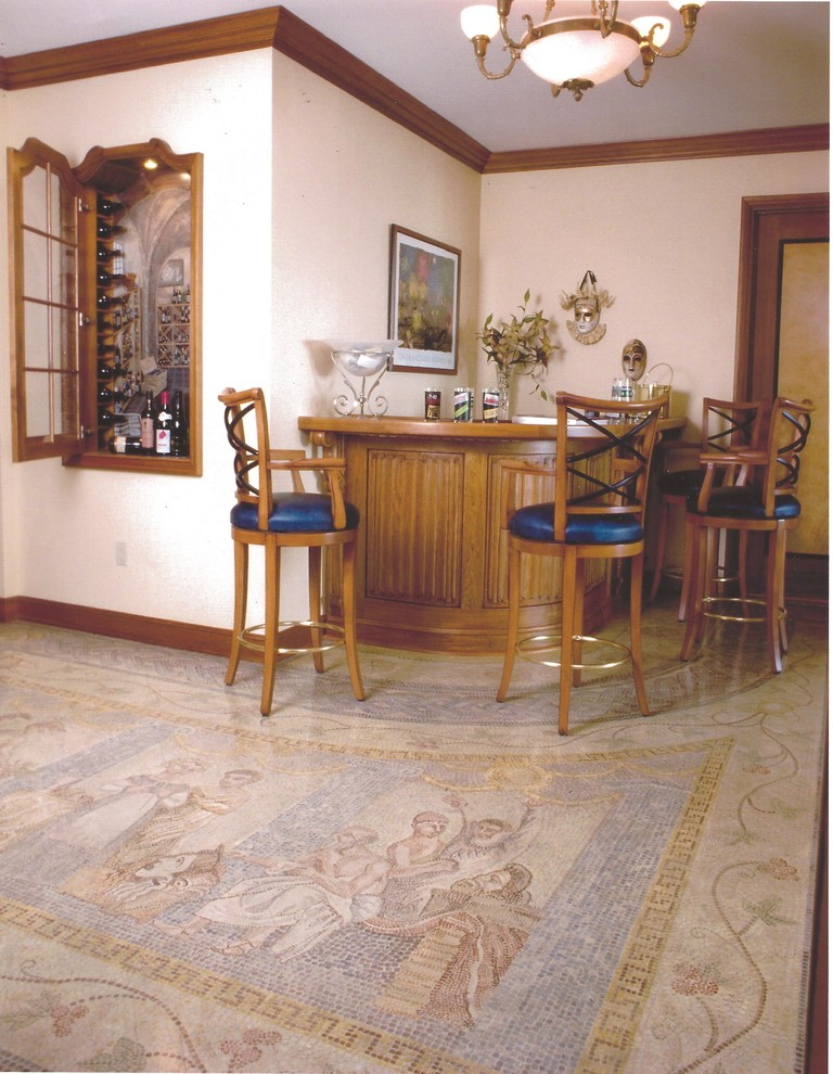 Inspiration for a small timeless painted wood floor foyer remodel in New York with beige walls