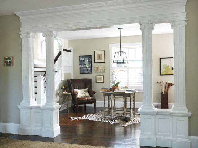 Living Room Designs With Pillars : Living room to lobby traditional entry providence